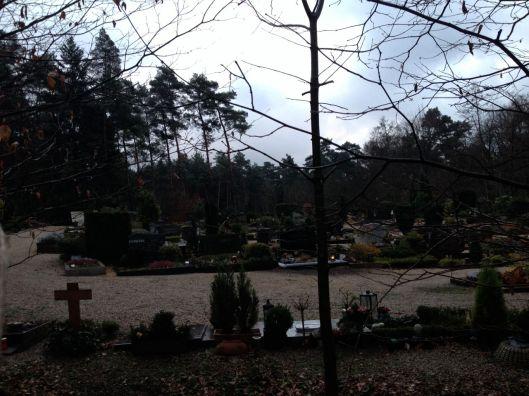 (Mitten im Wald, wie idyllisch, der  kleine Friedhof.)